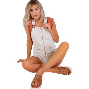 Free People Sunkissed Shortalls White washed NEW